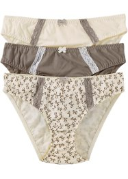 Slip, bpc bonprix collection, bedruckt + taupe + champagner