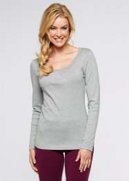 Basic Baumwollshirt Rib-Jersey, bpc bonprix collection, weiß