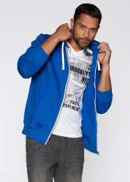 Sweatjacke im Slim Fit, RAINBOW, azurblau