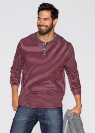 Langarmshirt Regular Fit, bpc bonprix collection, dunkelrot/wollweiß geringelt