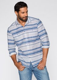 Langarmhemd Regular Fit, bpc bonprix collection, wollweiß/jeansblau gestreift