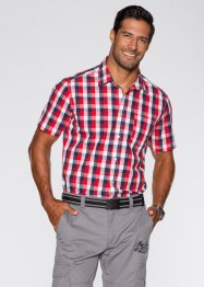 Kurzarmhemd Regular Fit, bpc bonprix collection, dunkelblau/rot kariert