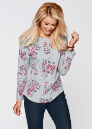 Vokuhila Sweatshirt, Langarm, bpc bonprix collection, mittelblau