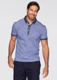 Poloshirt Regular Fit, bpc bonprix collection, blau/weiß meliert
