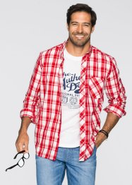 2tlg Set: Hemd + T-Shirt Regular Fit, John Baner JEANSWEAR, rot kariert + weiß