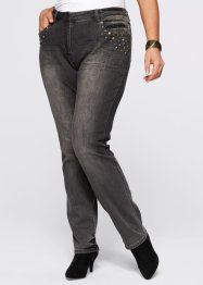 Stretchjeans mit Ziernieten, bpc selection, grey denim