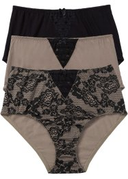 Taillenslip (3er-Pack), bpc bonprix collection, bedruckt+ taupe+ schwarz