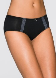 Panty (2er-Pack), bpc bonprix collection, graumelange + schwarz
