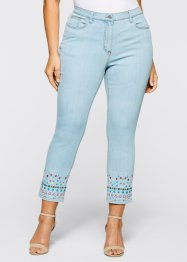 7/8 Stretchjeans mit Stickerei, bpc selection, blue bleached