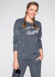 Sweatshirt in gewaschener Optik, bpc bonprix collection, grau meliert