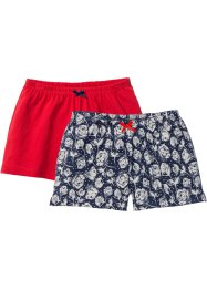 Shorts (2er-Pack), bpc bonprix collection, rot/dunkelblau geblümt