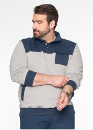 Troyer-Sweatshirt Regular Fit, bpc selection, hellgrau meliert/dunkelblau