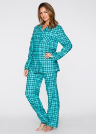 Flanell Pyjama, bpc bonprix collection, petrol kariert
