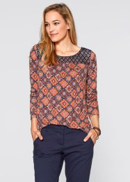 Shirt-Tunika, Langarm, bpc bonprix collection, jeansblau gemustert