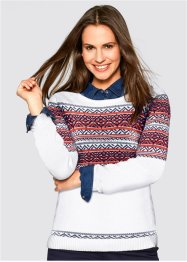 Pullover mit Jacquard-Muster, bpc bonprix collection, wollweiß gemustert