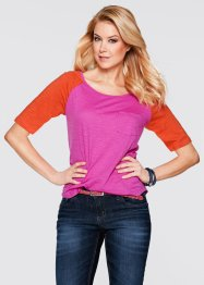 Halbarm-Shirt, bpc bonprix collection, blutorange/fuchsia