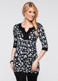3/4-Arm-Shirt-Tunika, bpc bonprix collection, schwarz gemustert