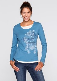 Langarmshirt, bpc bonprix collection, graublau bedruckt