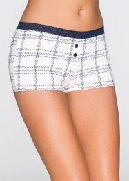 Damen Boxer (4er-Pack), bpc bonprix collection, dunkelblau/wollweiß bedruckt