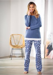 Pyjama, bpc bonprix collection, indigo meliert/bedruckt