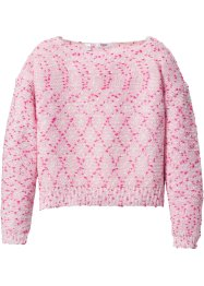 Noppenstrickpullover kurze Form, bpc bonprix collection, rosa/pink