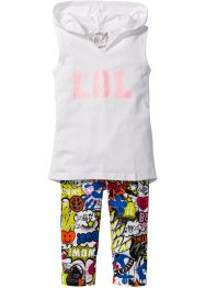 Top + Caprileggings (2-tlg.), bpc bonprix collection, weiß/bunt bedruckt