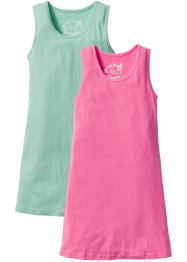 Shirtkleid (2er Pack), bpc bonprix collection, mentholblau/flamingopink