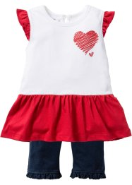 Baby-T-Shirt + Leggings (2-tlg.) Bio-Baumwolle, bpc bonprix collection, weiß/dunkelblau