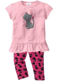 Baby-T-Shirt + Leggings (2-tlg.) Bio-Baumwolle, bpc bonprix collection, puderrosa/dunkelpink