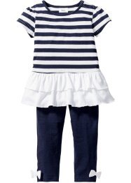 Baby Kleid + Leggings (2-tlg.) Bio-Baumwolle, bpc bonprix collection, dunkelblau/weiß