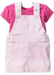 Baby Latzkleid + T-Shirt (2-tlg.), bpc bonprix collection, flamingopink/puderrosa