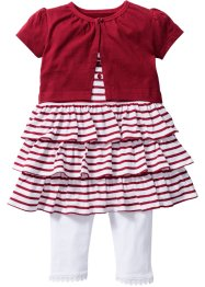 Baby Bolero + Kleid + Leggings (3-tgl.) Bio-Baumwolle, bpc bonprix collection, weiß/dunkelrot