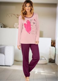 Pyjama, bpc bonprix collection, altrosa bedruckt