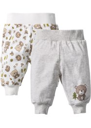 Baby-Shirthose (2er-Pack) Bio-Baumwolle, bpc bonprix collection, wollweiß/naturmeliert