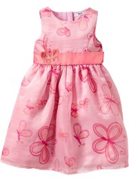 Doppellagiges Kleid, bpc bonprix collection, puderrosa/Schmetterlinge