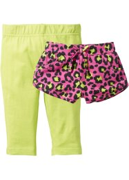 Shorts+ 3/4 Legging (2er-Pack), bpc bonprix collection, pink bedruckt+kiwigrün