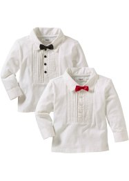 Baby Langarmshirt (2er-Pack), bpc bonprix collection, weiß/rot/schwarz