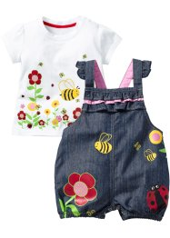 Baby-T-Shirt + Jeans Latzhose (2-tlg. Set), bpc bonprix collection, blue stone/weiß