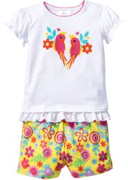 Baby-T-Shirt + Shorts (2-tlg.) Bio-Baumwolle, bpc bonprix collection, weiß/tulpengelb