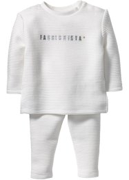 Baby Sweatshirt + Sweathose mit Struktur (2-tlg. Set), bpc bonprix collection, wollweiß