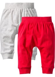 Baby-Shirthose (2er-Pack) Bio-Baumwolle, bpc bonprix collection, natur/rot meliert