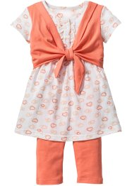 Kleid+ 3/4 Leggings (2-tlg. Set), bpc bonprix collection, apricot+wollweiß bedruckt