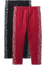Leggings mit Glitzer (2er-Pack), bpc bonprix collection, schwarz+dunkelrot