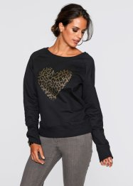 Sweatshirt mit Applikation, bpc selection, schwarz