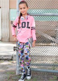 Kapuzenshirt + Leggings (2-tlg.), bpc bonprix collection, neonpink allover