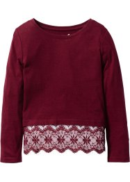 Shirt mit Spitze, bpc bonprix collection, bordeaux