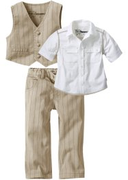 Hemd + Weste + Hose (3-tlg. Set), bpc bonprix collection, beige,weiß