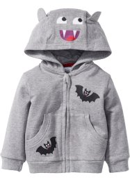 Baby Halloween Sweatjacke Bio-Baumwolle, bpc bonprix collection, hellgrau meliert
