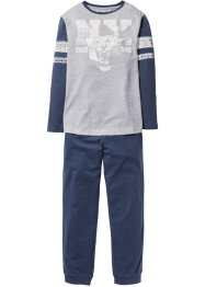 Pyjama (2-tlg. Set), bpc bonprix collection, hellgrau meliert/indigo