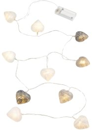 "LED-Lichterkette ""Cotton Herzen"", bpc living, grau/creme"